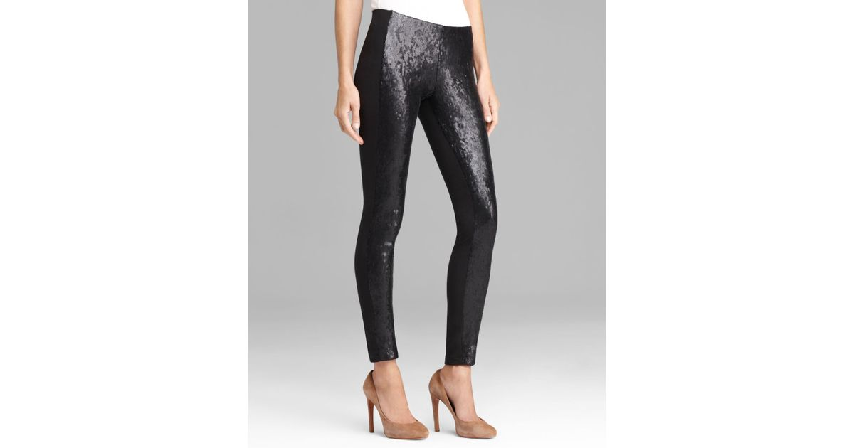 67a2184306d Lyst - DKNY Sequin Front Leggings in Black