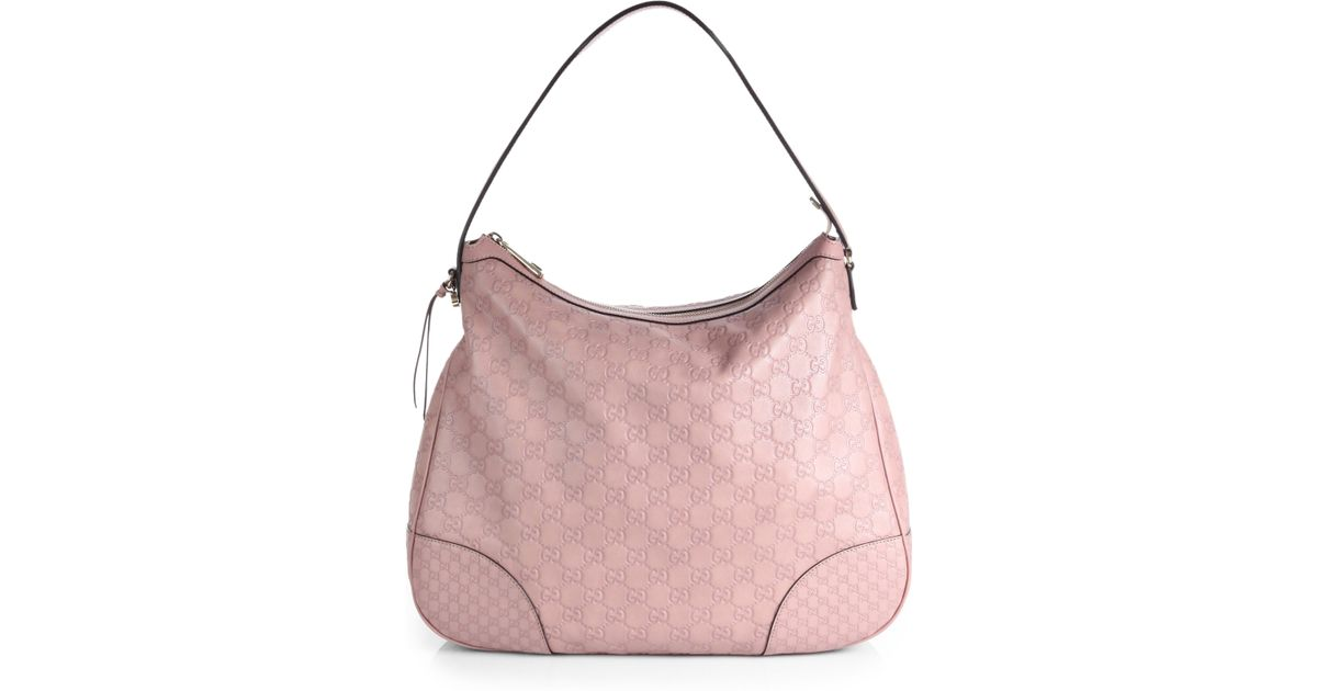 c42ce6749f5 Gucci Bree Ssima Leather Hobo Bag in Pink - Lyst