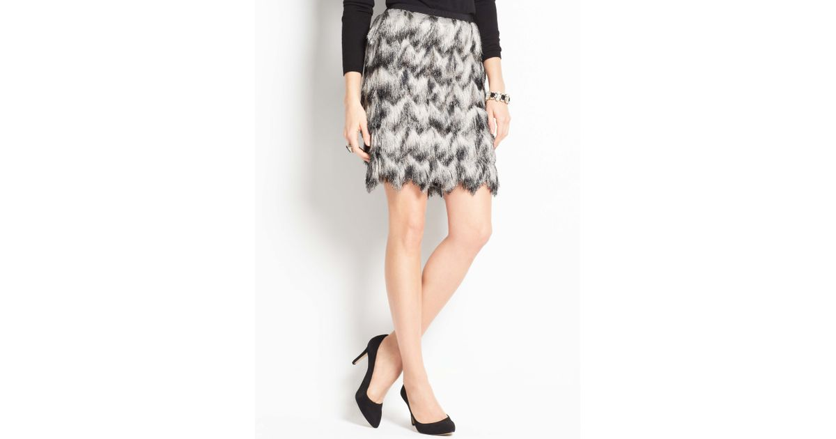 1d26155153 Ann Taylor Ombre Feathered Fringe Skirt in Gray - Lyst
