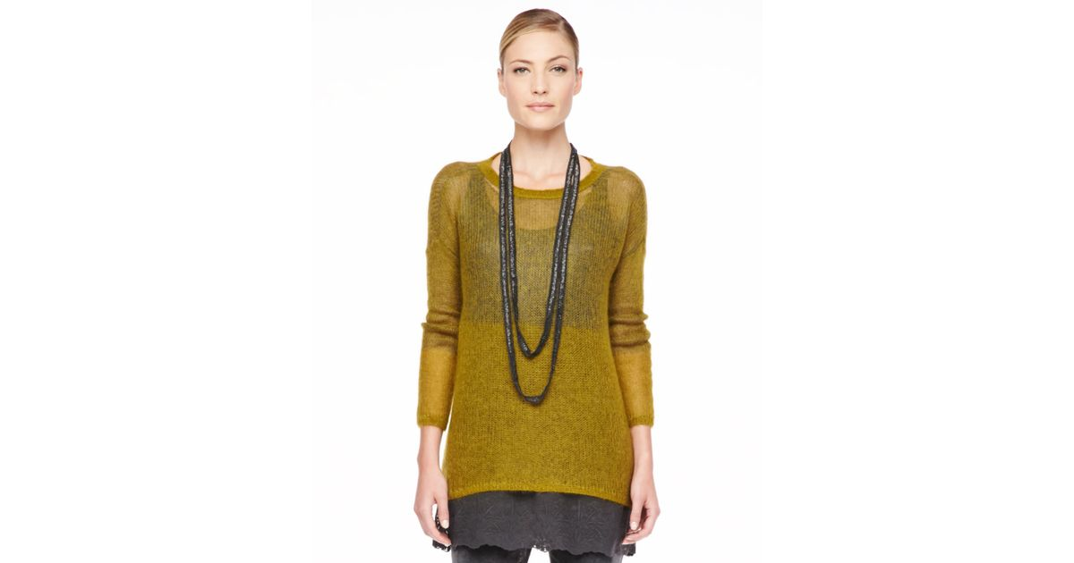 068b062ece5 Lyst - Eileen Fisher Plaited Mohair Blend Jewel Neck Tunic in Green
