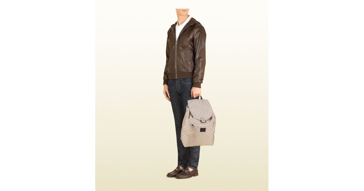 Gucci Gg Nylon Backpack From The Viaggio Collection in Gray for Men - Lyst 553bce0ec86b9