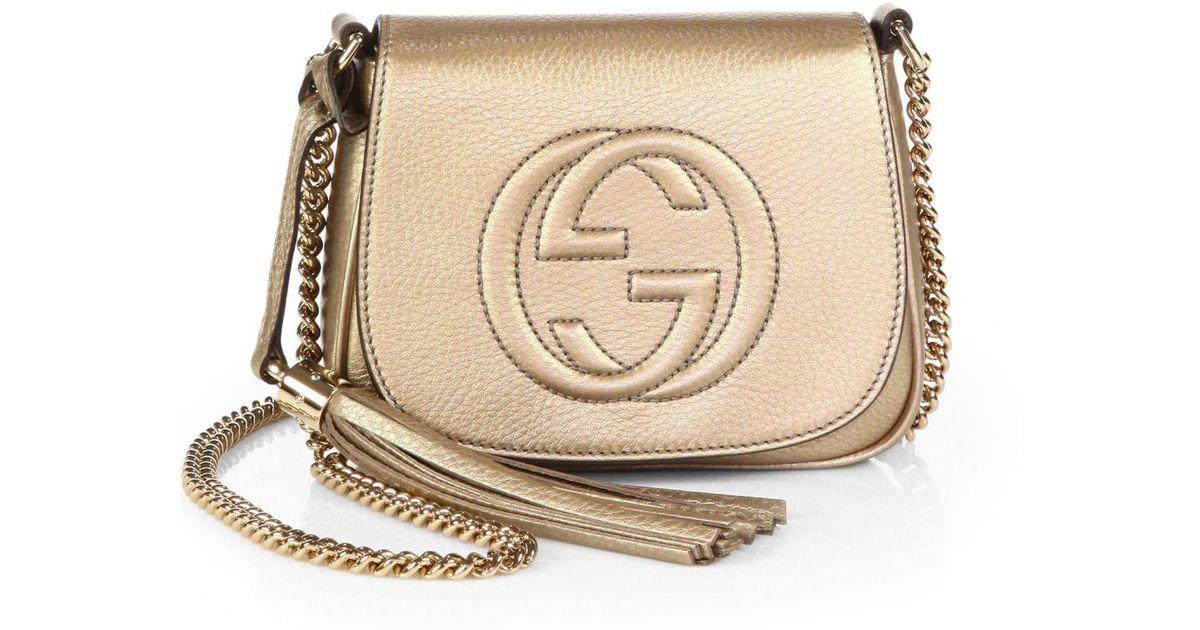 eed25a0b01c Lyst - Gucci Soho Metallic Leather Chain Shoulder Bag in Metallic