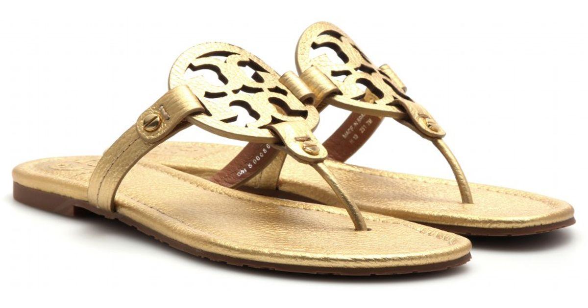 9aa0d6bdd703 Lyst - Tory Burch Miller Leather Sandals in Metallic