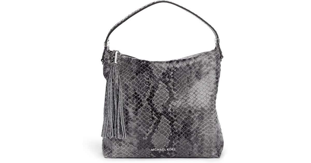 lyst michael kors weston medium snakeskin print shoulder bag in gray rh lyst com