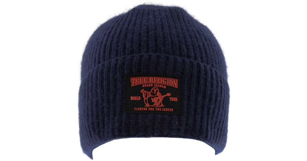b5cb190d6afda True Religion Ribbed Beanie Hat in Blue for Men - Lyst