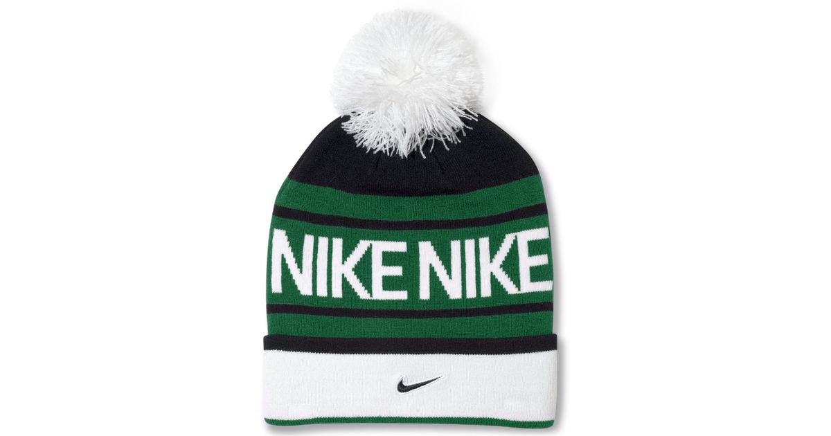 5125a04308b33 ... wholesale lyst nike pom pom beanie in green for men 6f034 b2e92