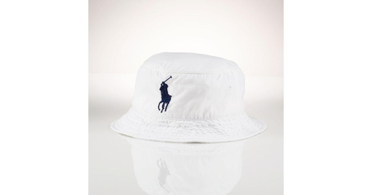 89ae2780ccf Lyst - Polo Ralph Lauren Beachside Bucket Hat in White for Men