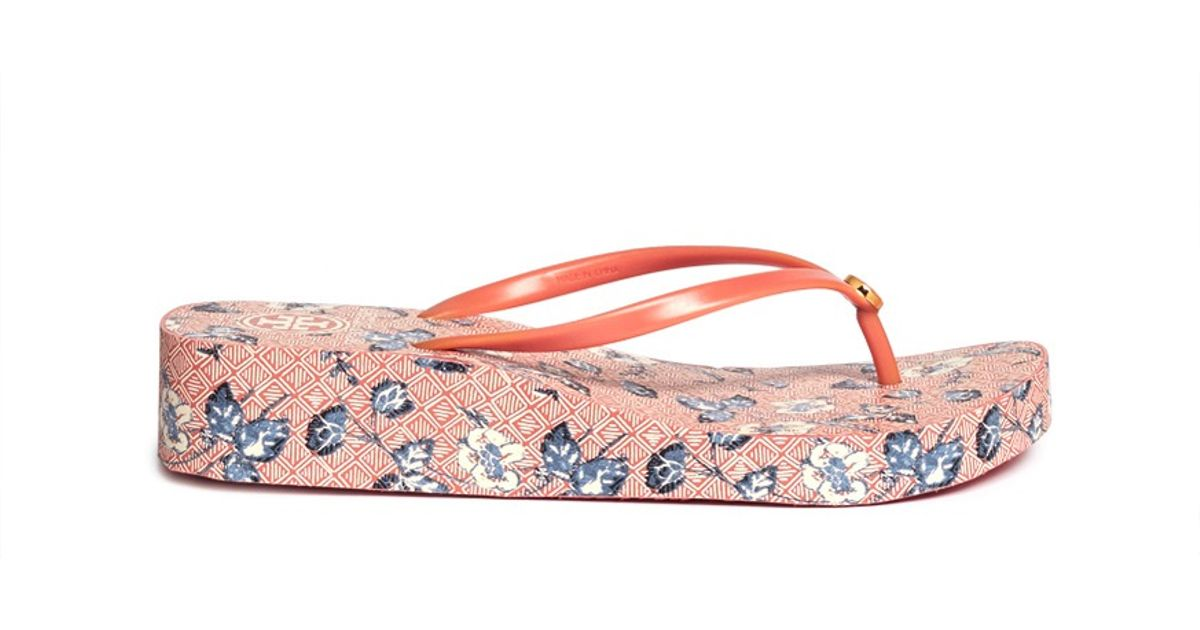 106d67b0f Lyst - Tory Burch Thandie Wedge Flip-flops in Orange