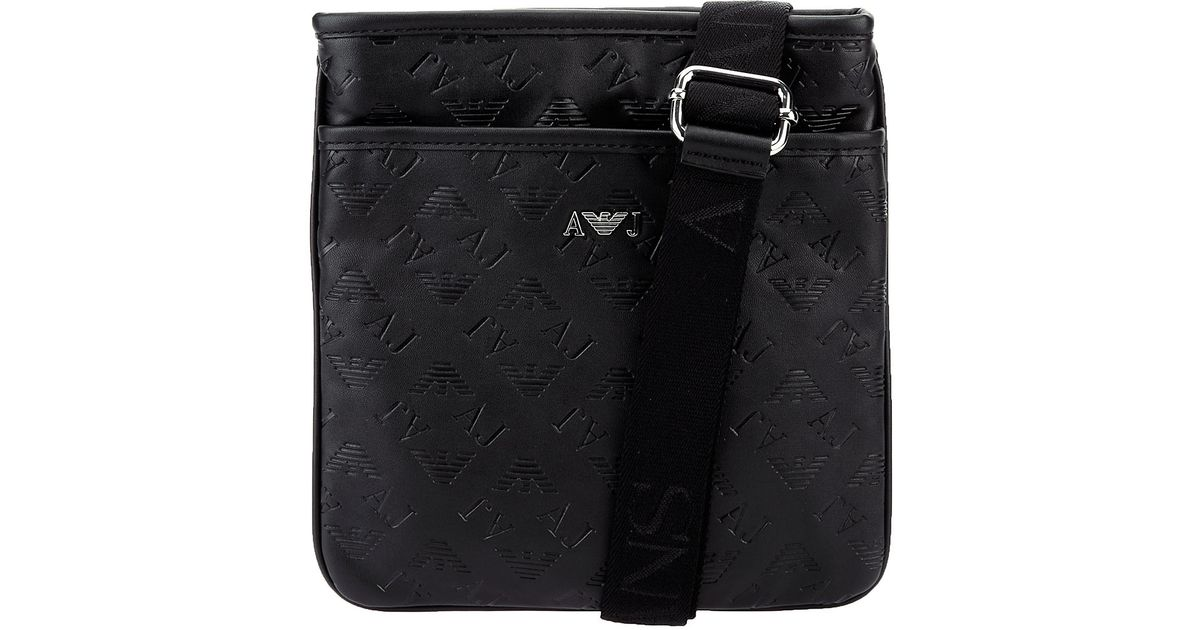 Lyst - Armani Jeans Embossed Leather Messenger Bag in Black for Men a61aebb172