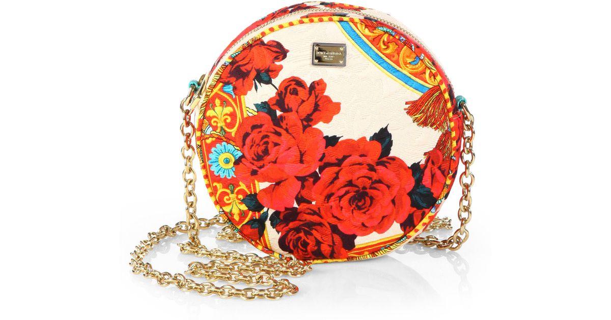 Lyst - Dolce   Gabbana Miss Glam Printed Brocade Crossbody Bag in Red 3450f3ac230f9