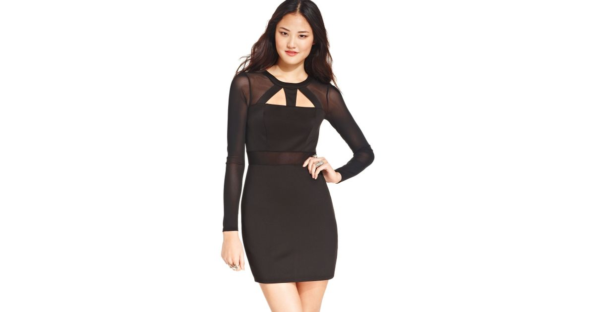 Lyst Material Girl Juniors Mesh Cut Out Bodycon Dress In Black