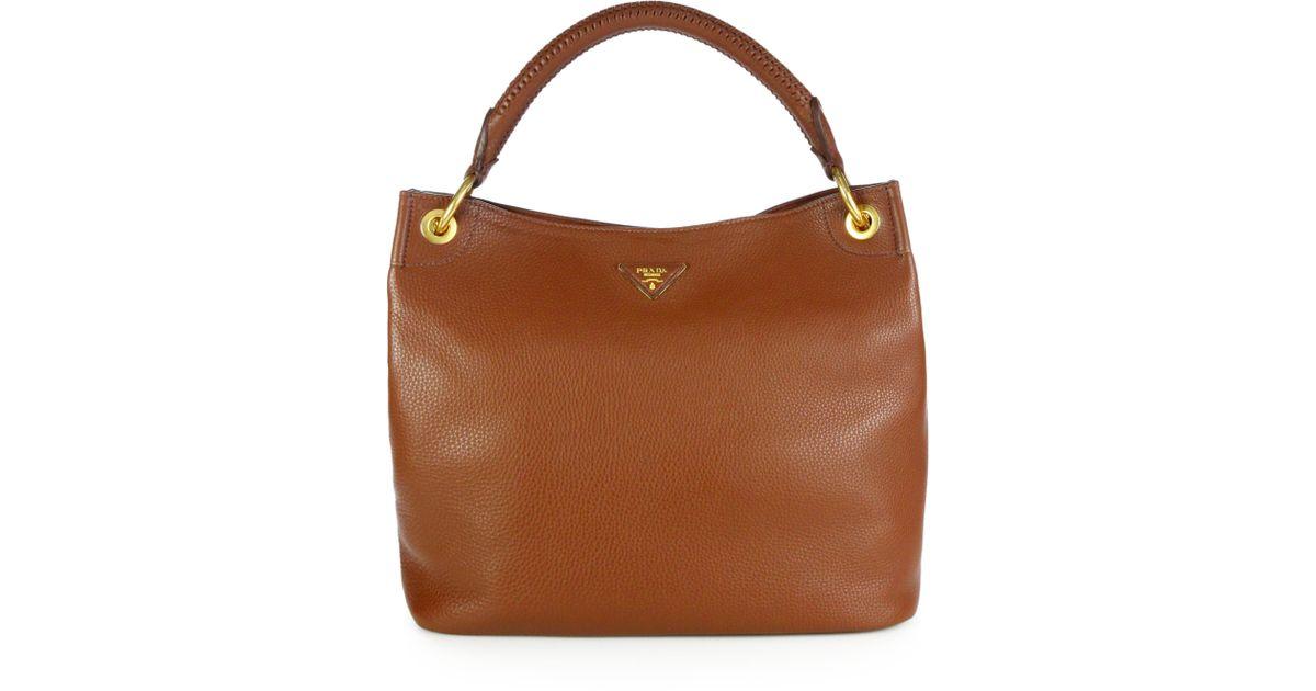 Lyst - Prada Vitello Daino Hobo Bag in Brown b8704542d1