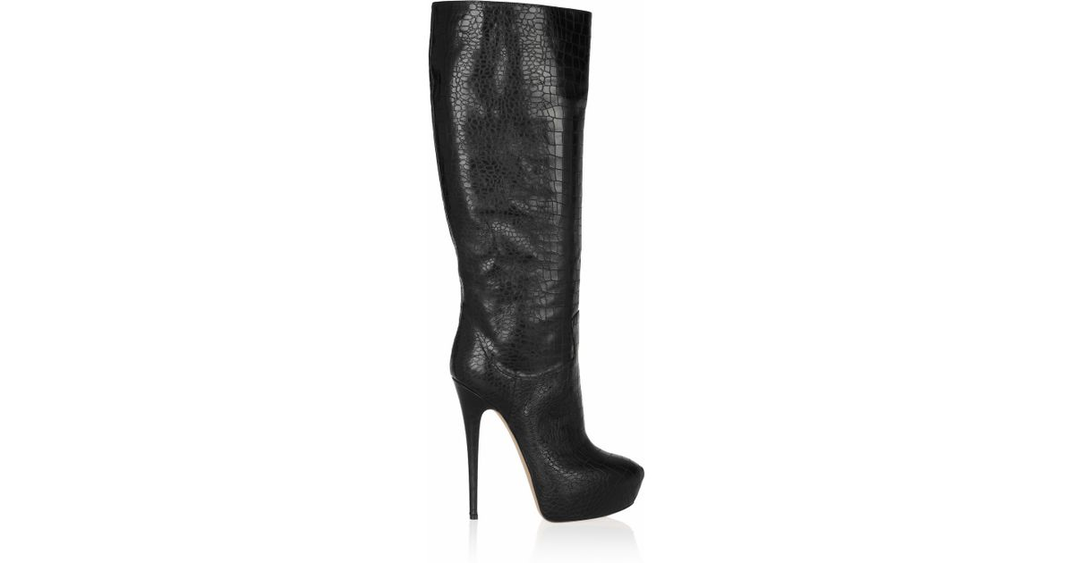 ac7934cc1f8 Lyst - Casadei Croc-Effect Leather Knee Boots in Black