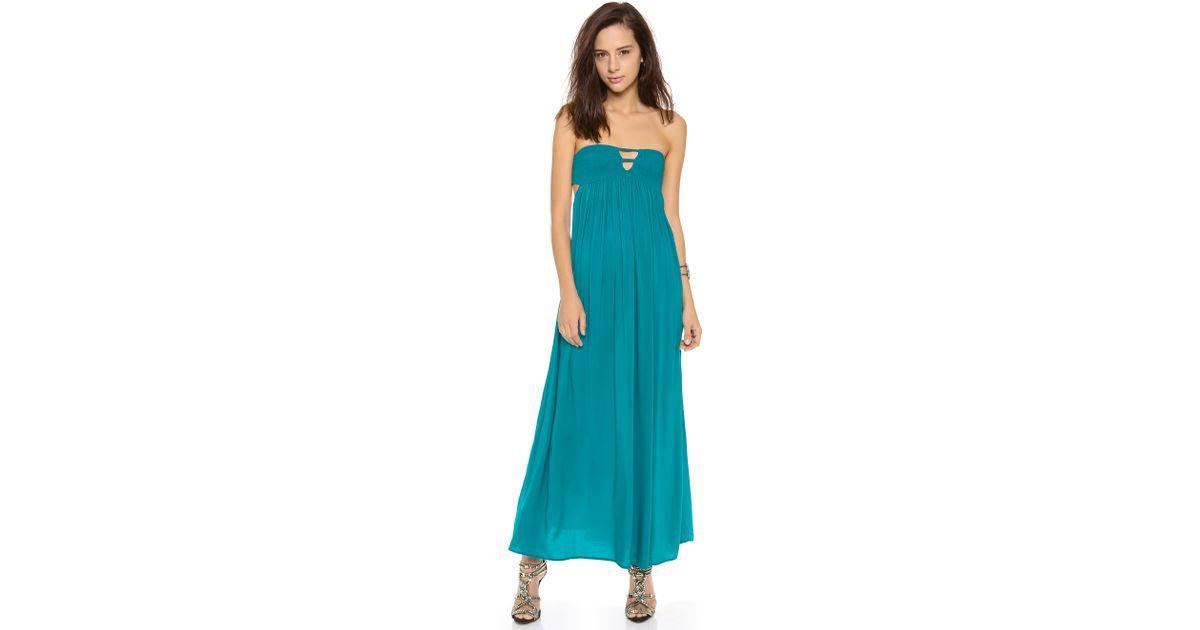 b77aea96b7a Lyst - Indah Flamingo Bandeau Maxi Dress in Blue