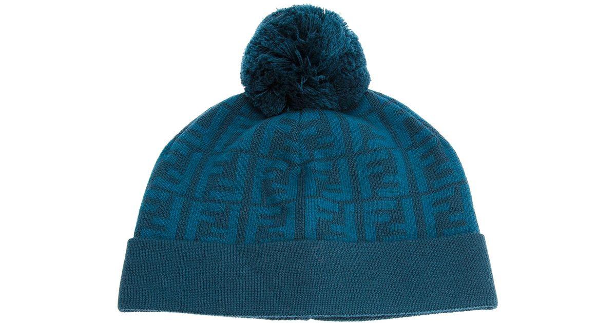 a81b4046e89 Lyst - Fendi Jacquard Monogram Bobble Hat in Blue for Men