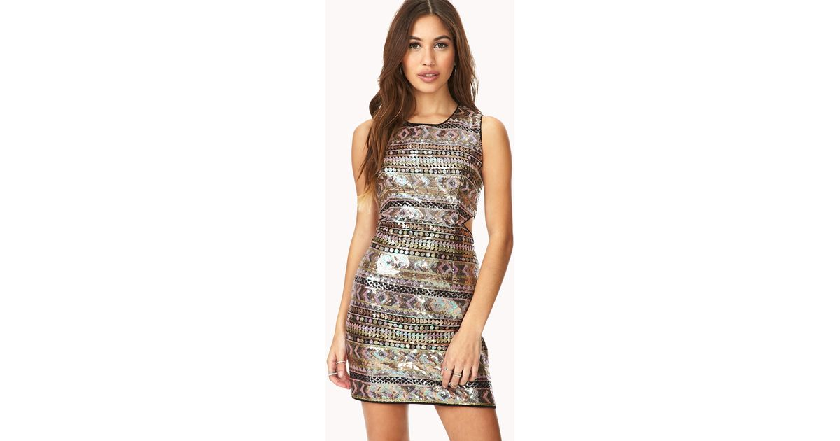 Lyst Forever 21 Sweet Escape Sequined Dress In Metallic