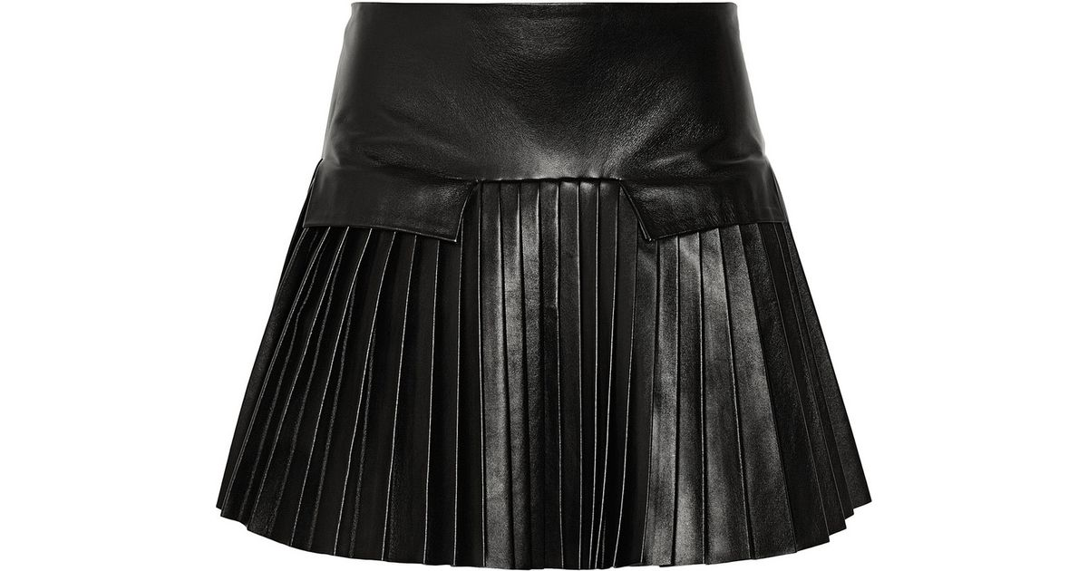 a2c0afa51394 Les Chiffoniers Pleated Leather Mini Skirt in Black - Lyst