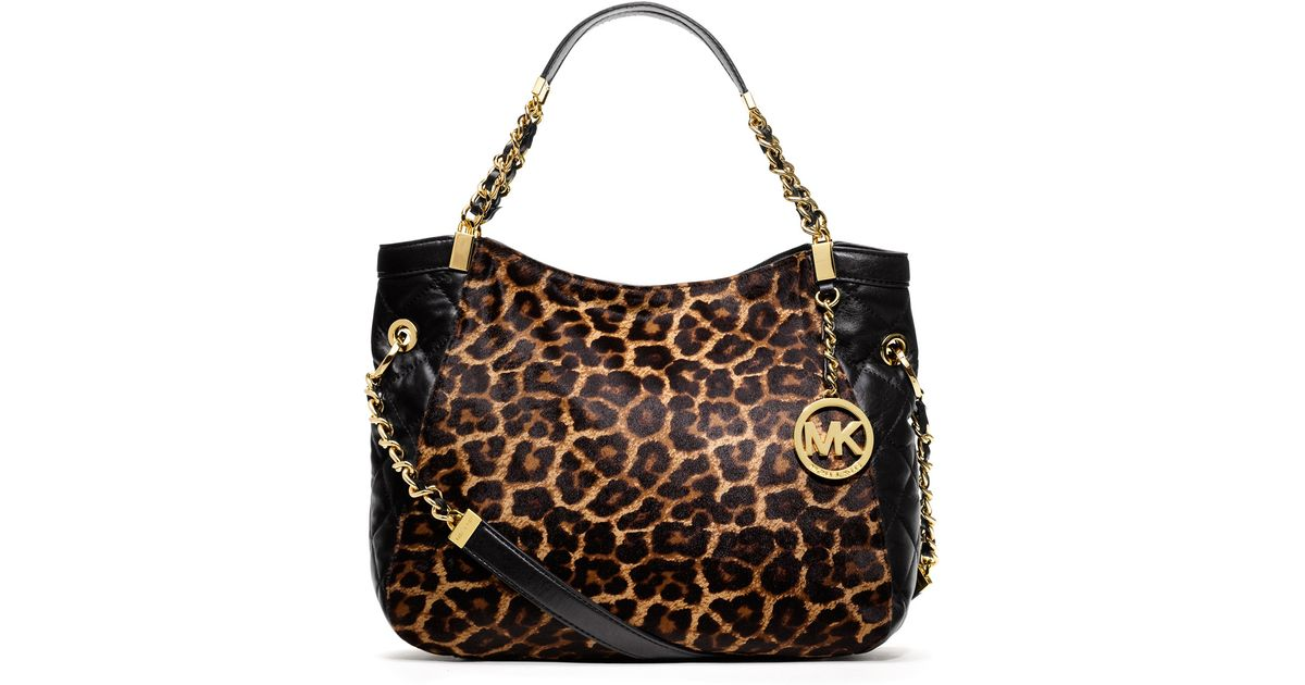 e84bfcf3ab281 ... print shoulder bag leopard lyst a7430 25707  promo code for lyst michael  kors michael medium susannah calfhair tote 8aa02 ca025