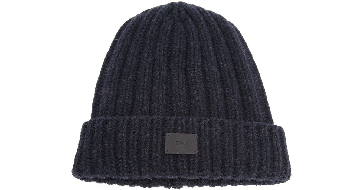 2f2a219c7d0 Dior Homme Ribbed Beanie Hat in Blue for Men - Lyst