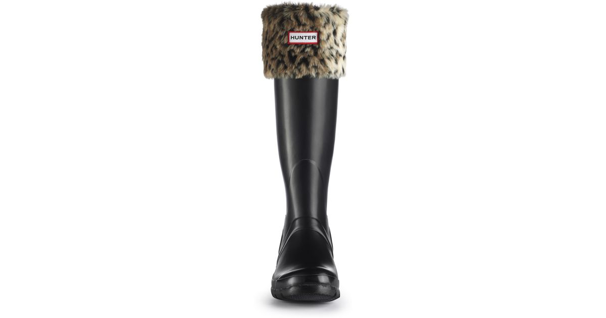 Lyst - Hunter Leopard Cuff Welly Socks in Black