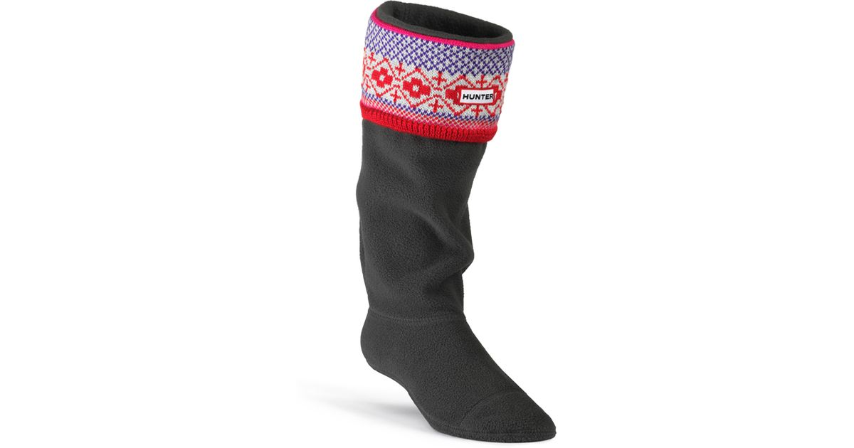Hunter Fair Isle Cuff Welly Socks in Purple for Men | Lyst