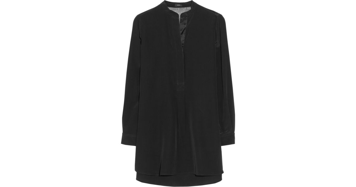 ef056d37e37af Lyst - JOSEPH Dara Organzatrimmed Silk Crepe De Chine Blouse in Black
