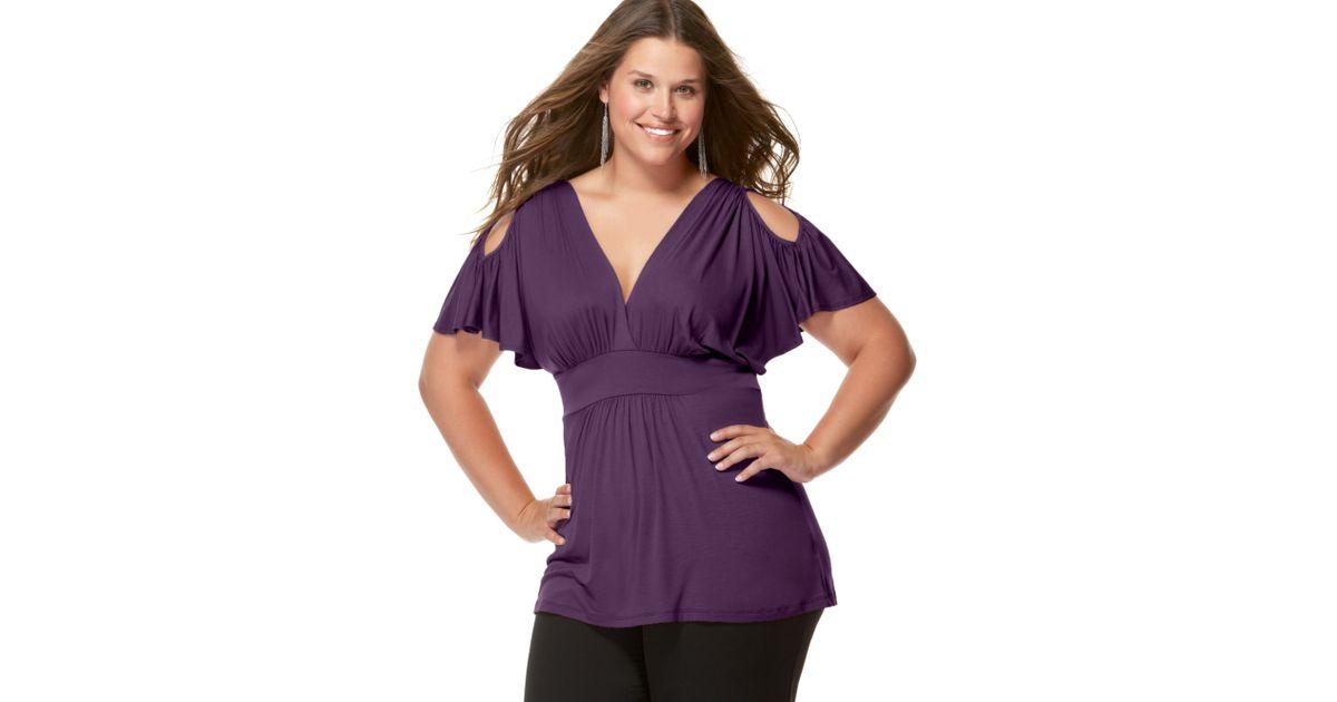 5913019c022fa2 Lyst - Soprano Plus Size Cold Shoulder Empire Top in Purple
