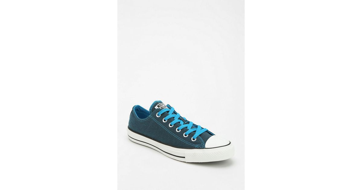 034591ef7ba082 Lyst - Urban Outfitters Converse Chuck Taylor All Star Dark Wash Neon Womens  Lowtop Sneaker in Blue