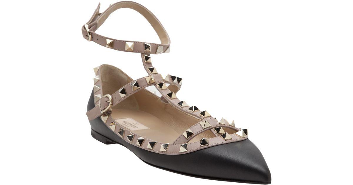 25b64178c24b Valentino Rockstud Ballerina Flat in Black - Lyst