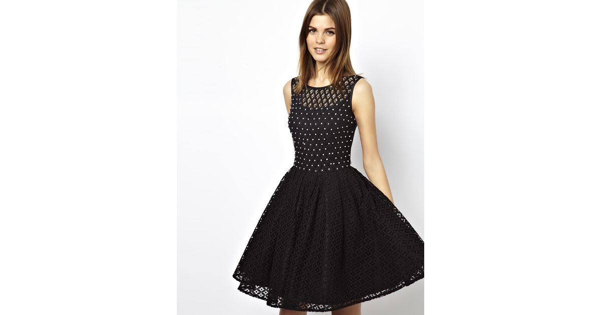 Lyst Asos A Wear Lace Skater Dress With Embellishment In Black