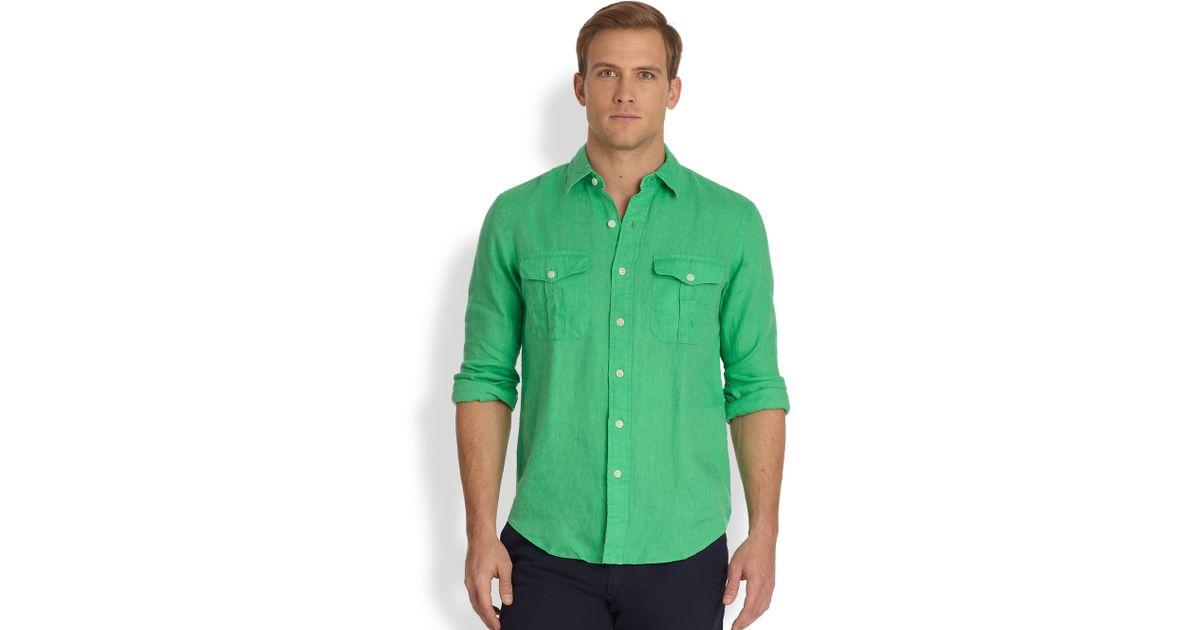 c31fc09df91c ... low cost lyst polo ralph lauren linen military workshirt in green for  men cb617 a6da5