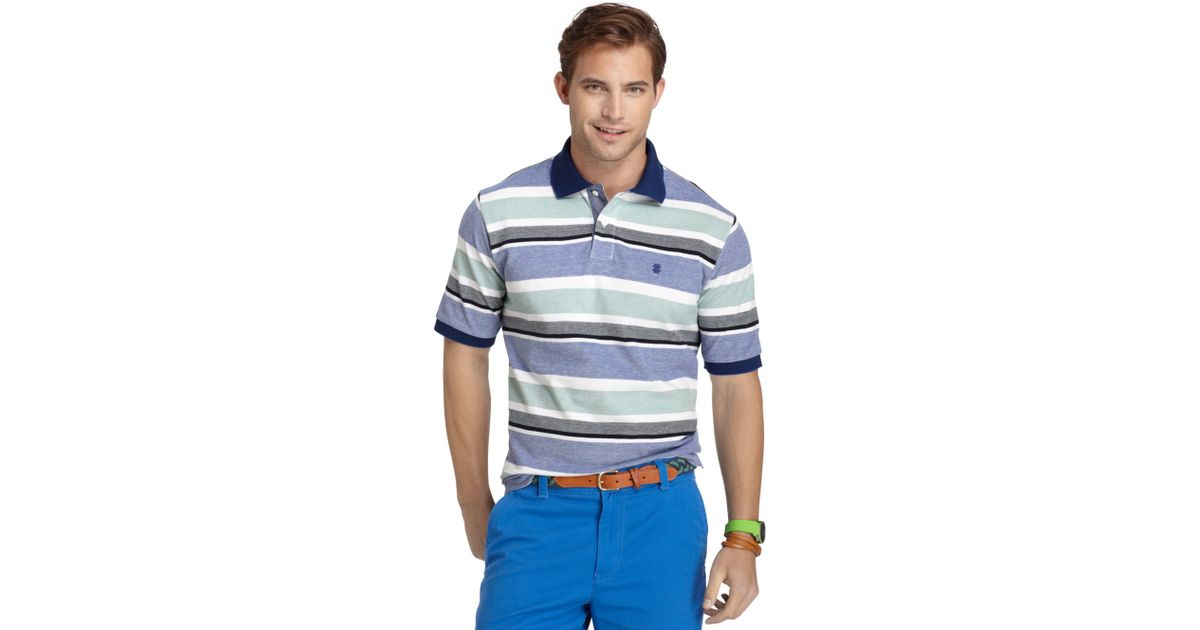 55591cfd Lyst - Izod Multi Stripe Oxford Pique Polo Shirt in Green for Men