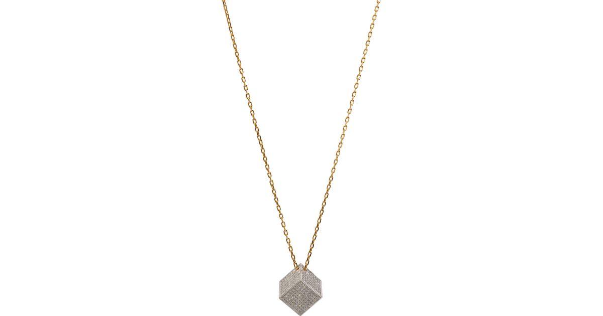 Noor Fares Solid Cube pendant necklace - Metallic bEvSUpMj
