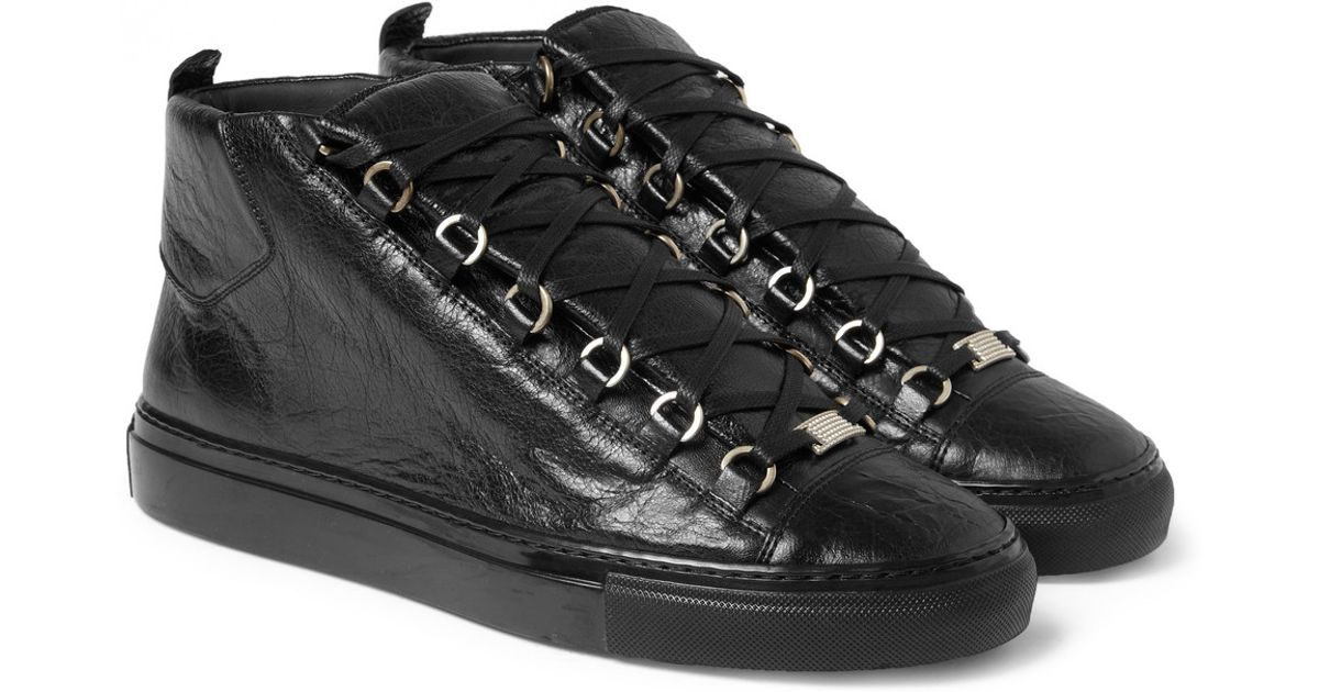 Lyst - Balenciaga Arena High-Top Leather Trainers in Black for Men 14e029e8d