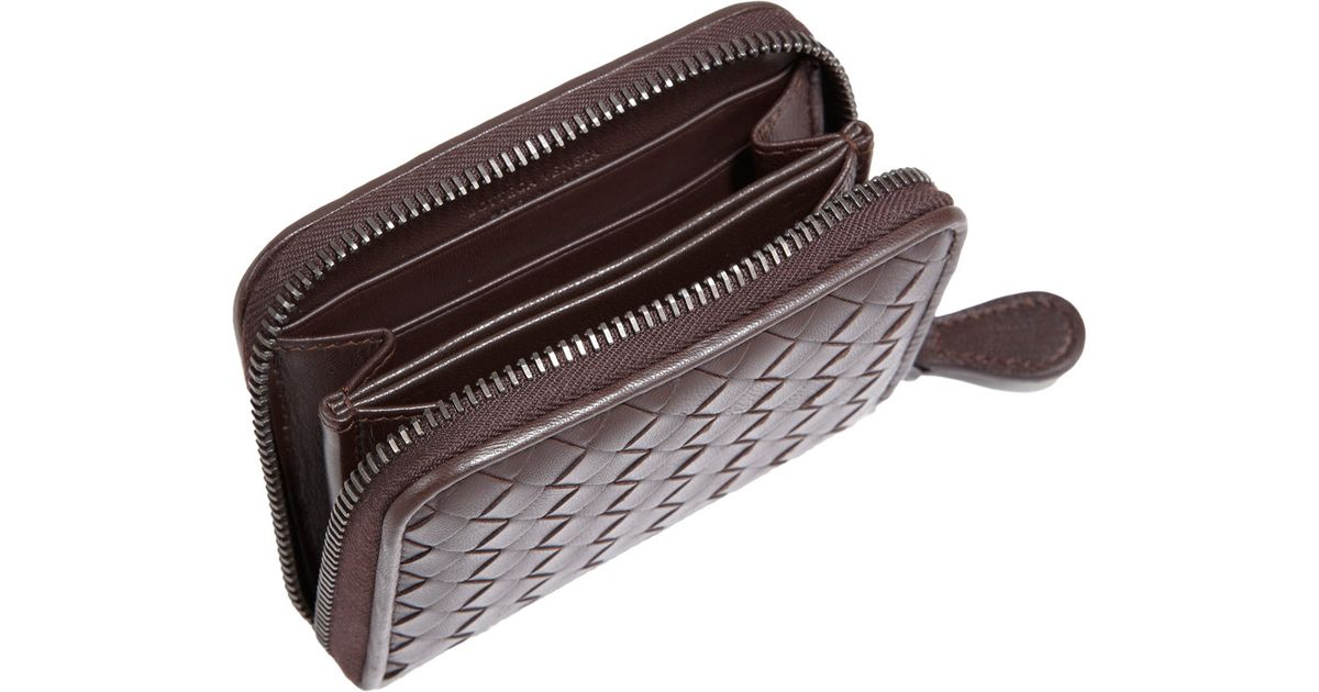 dd048204cfeb2 Bottega Veneta Intrecciato Mini Zip Around Wallet in Brown - Lyst