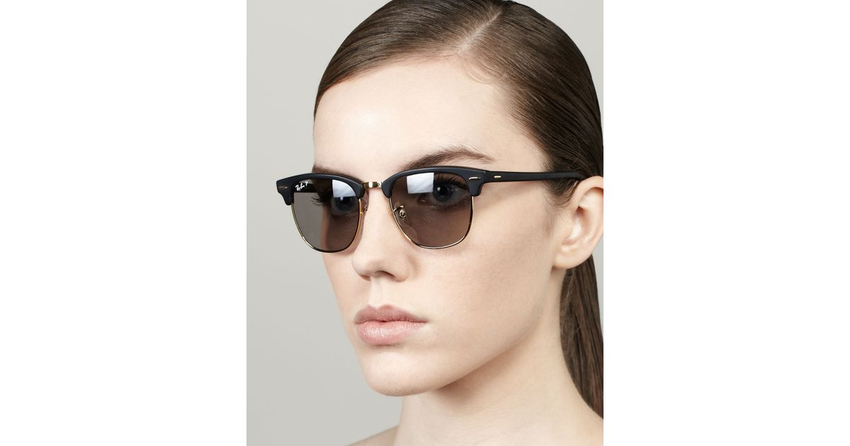 60c376333c Lyst - Ray-Ban Polarized Matte Clubmaster Sunglasses Black in Black