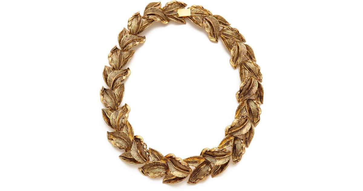acc1de30f14 Aerin Erickson Beamon Metallic Leaf Wreath Necklace