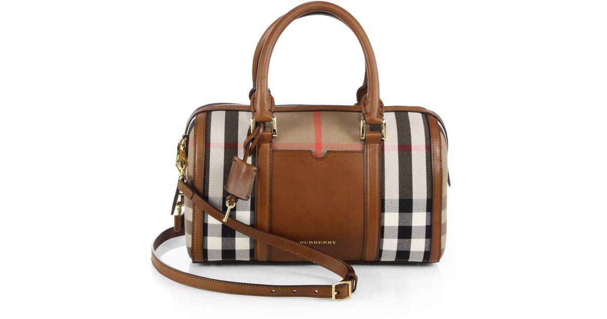 687ea247e4b226 Burberry Alchester Medium Mixed-Media Bowler Bag in Brown - Lyst