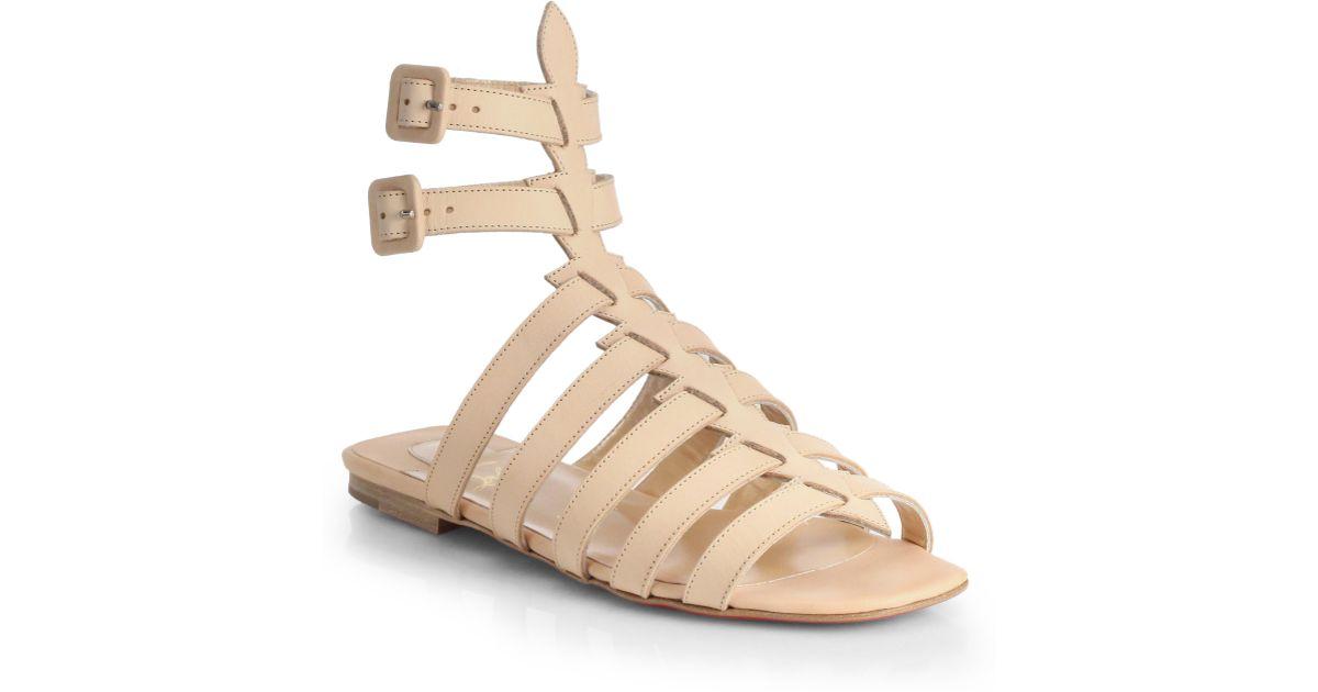 a1cad6e006da ... buy lyst christian louboutin neronna leather gladiator sandals in  natural 91402 de85e
