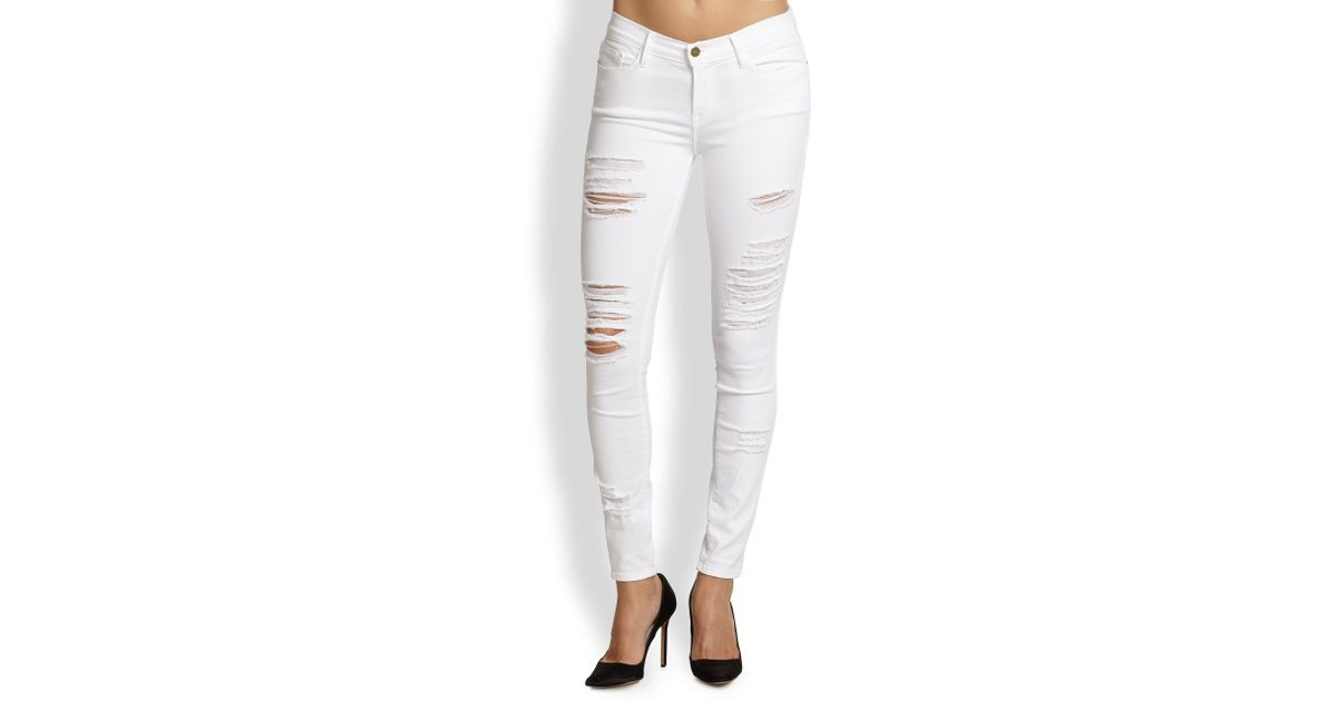 Frame Le Colour Distressed Skinny Jeans in White | Lyst