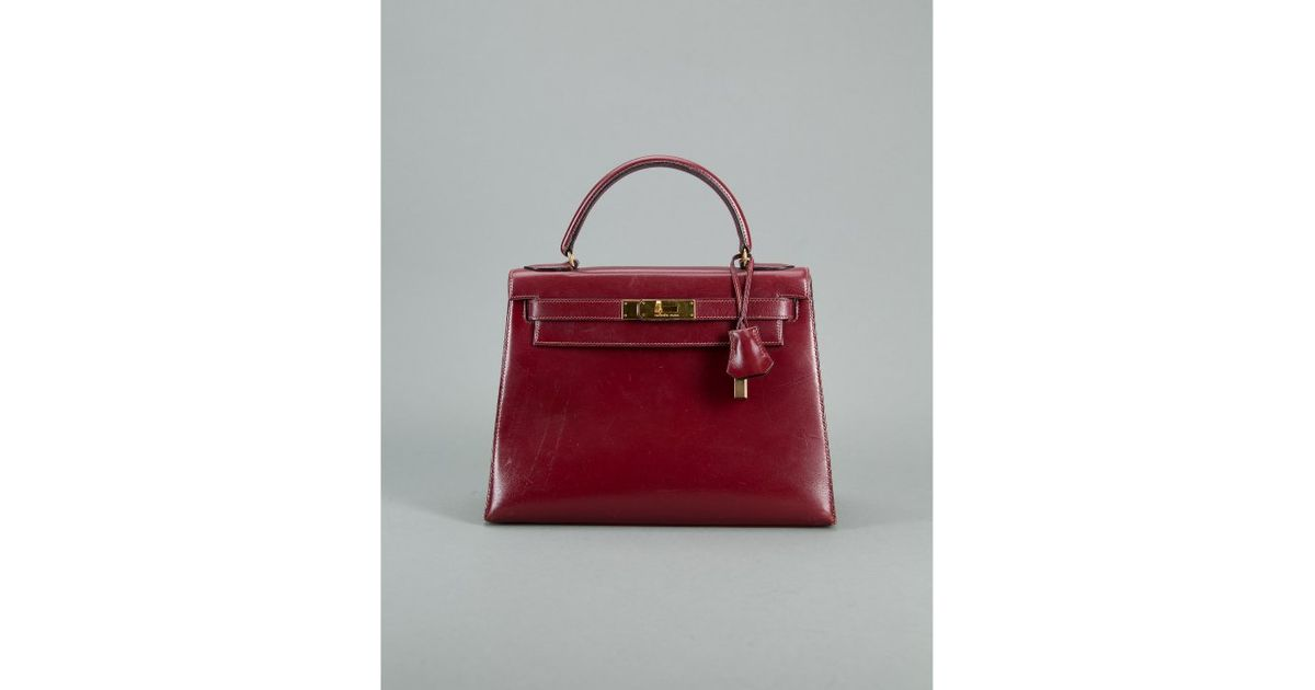 Herm¨¨s Preowned Burgundy Box Calf Leather Kelly 28cm Handbag in ...