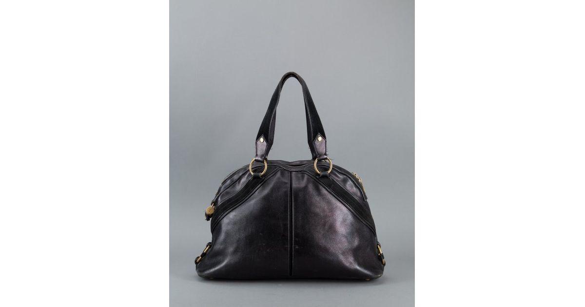Saint laurent Pre-Owned: Black Leather \u0026#39;Muse\u0026#39; Vintage Shoulder Bag ...