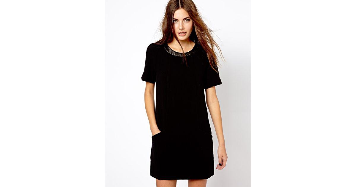 Lyst - Mango Shift Dress With Leather Look Trim in Black 4ec3c07e2b