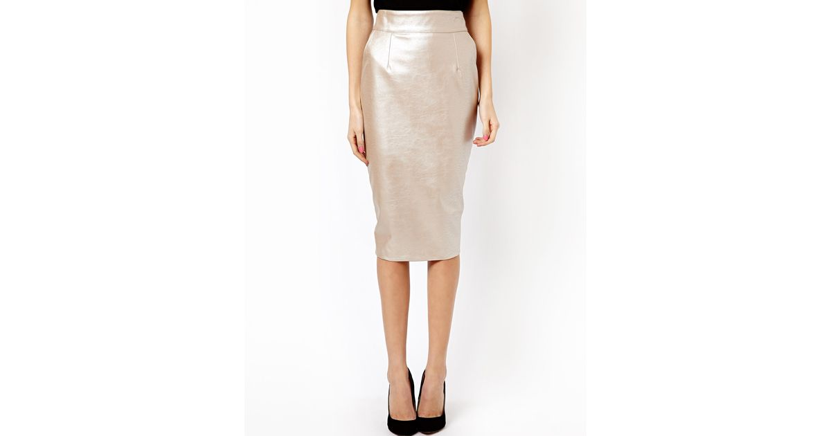 Asos River Island Leather Look High Waisted Skirt in Metallic | Lyst