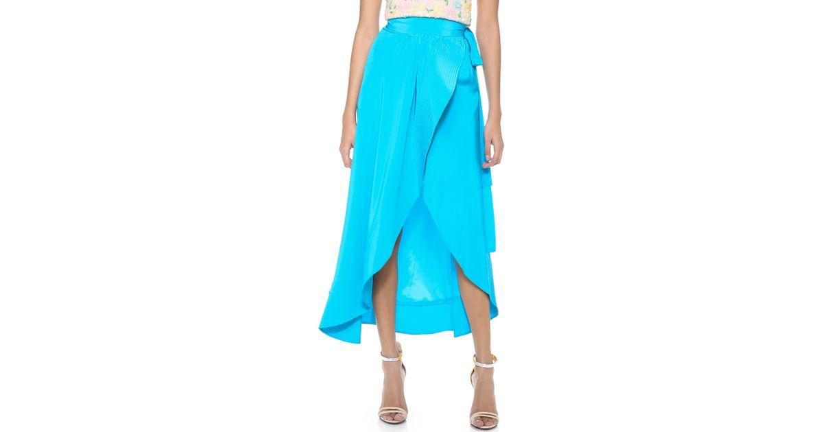 b41ed5159 Cynthia Rowley Long Wrap Skirt in Blue - Lyst