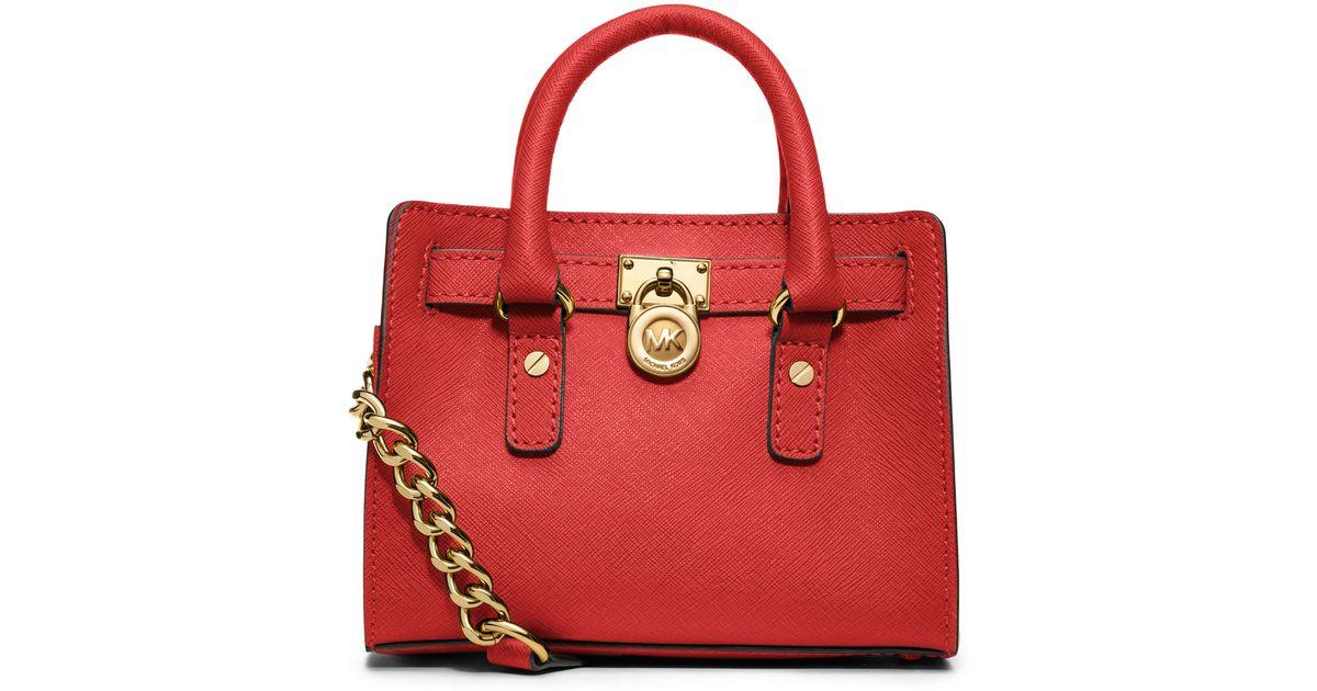 1baf4d4235f1 Lyst - MICHAEL Michael Kors Mini Hamilton Saffiano Messenger Bag in Red