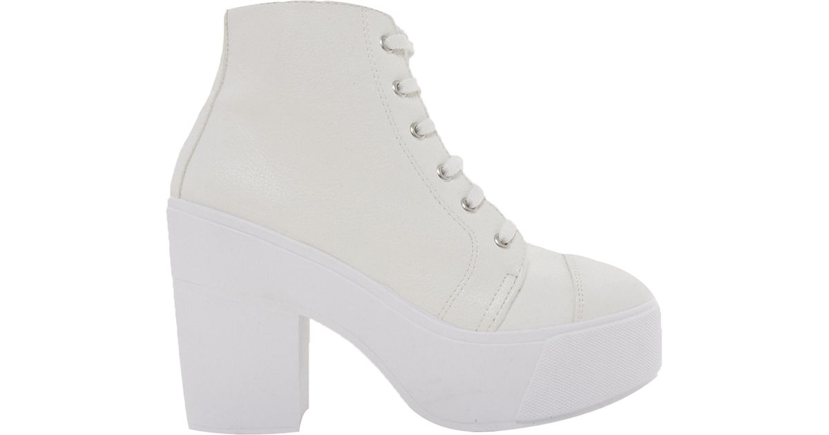 Lyst Asos All Good Things Lace Up Ankle Boots In White