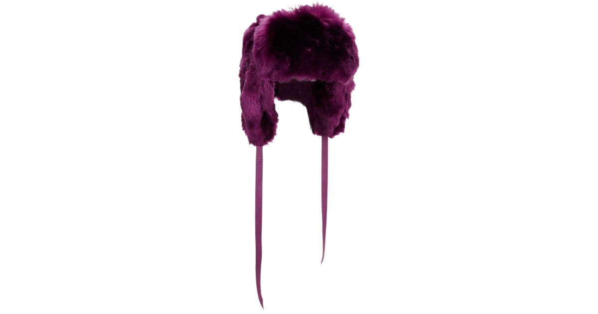 Lyst - Barneys New York Faux Fur Trapper Hat in Purple e5c194279b3