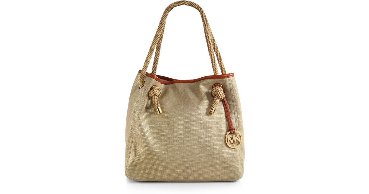 ca5d68b8ff1f ... germany lyst michael michael kors marina crab canvas tote bag in  metallic 27556 b3873