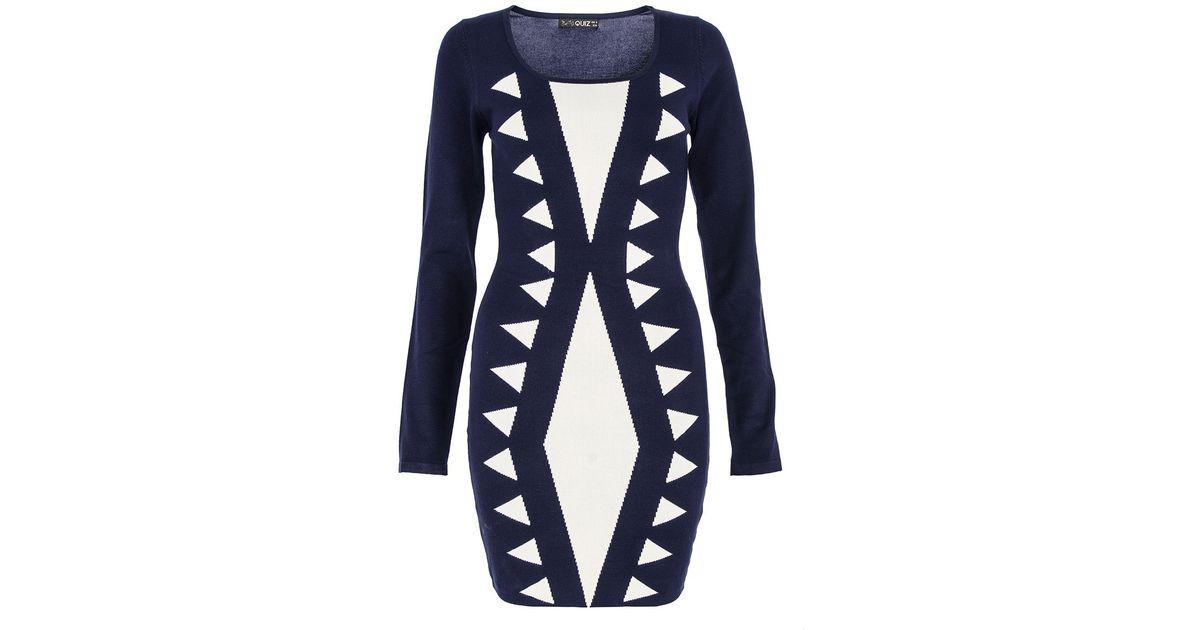 Knitting Quiz Uk : Lyst quiz navy triangle knit dress in blue